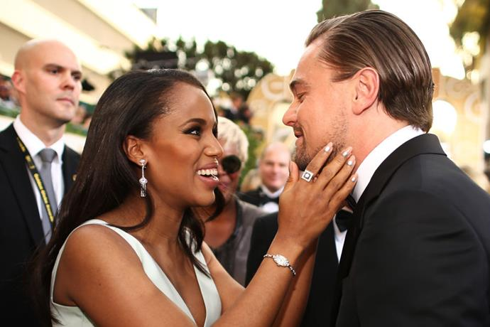 <p><strong>Kerry Washington and Leonardo DiCaprio</strong> <p>JUST friends.