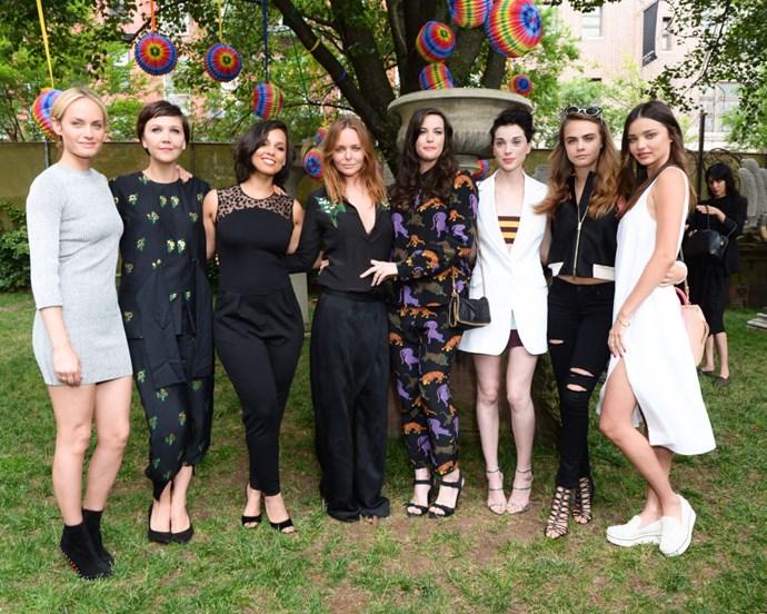 <strong>VIPS</strong> <BR> (From L-R) Amber Valletta, Maggie Gyllenhaal, Alicia Keys, Stella McCartney, Liv Tyler, St. Vincent, Cara Delevingne, Miranda Kerr