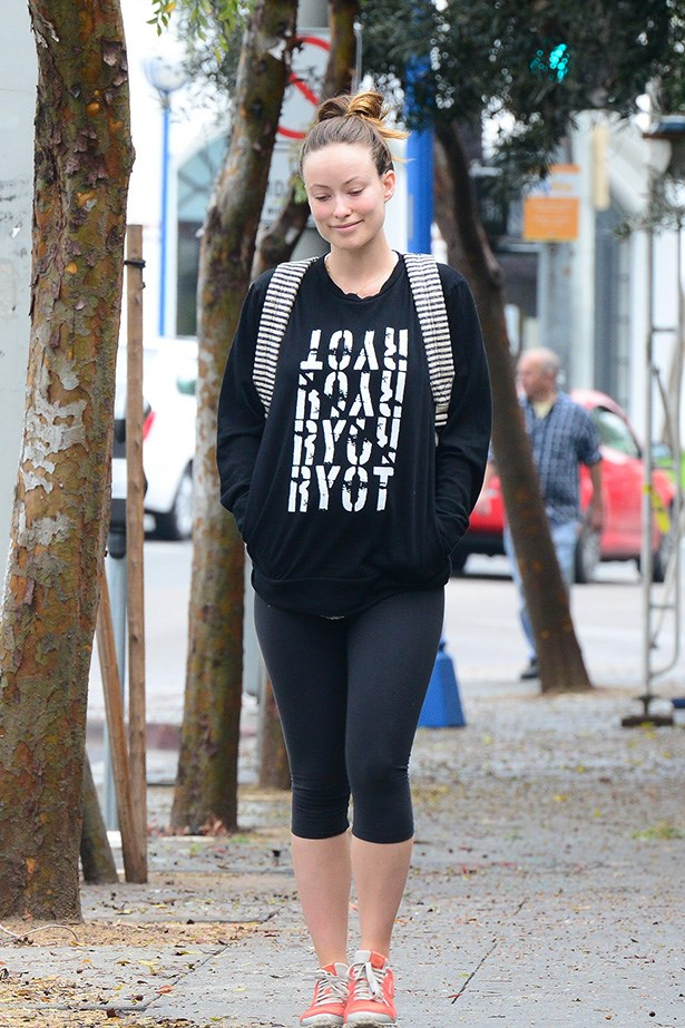 Olivia Wilde works a slogan tee to her advantage.