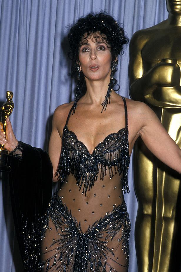 Cher went naked on the red carpet way before everyone else. This is the 1988 Oscars.