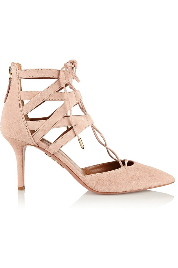 "Aquazurra Belgravia lace-up suede pumps, <a href=""https://www.net-a-porter.com/au/en/product/526036"">Net-a-Porter</a>"