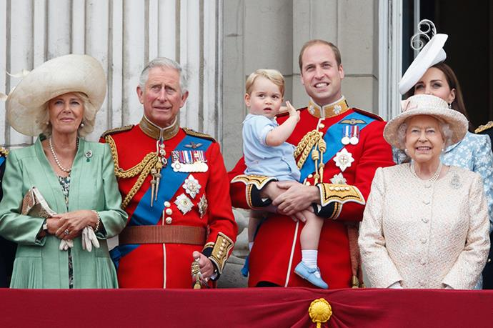Prince George works on on his royal wave at the Queen's birthday celebration parade. It is only his second official appearance.