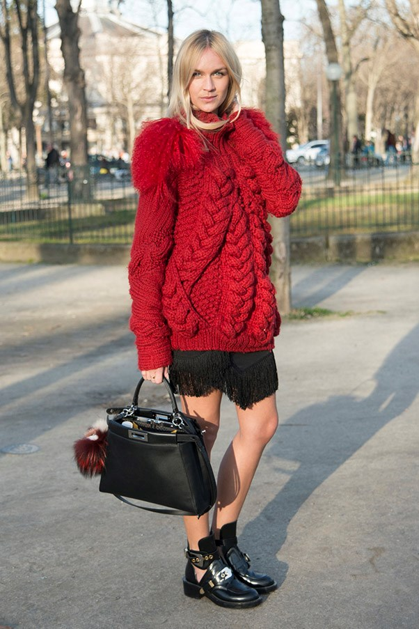 A little bit of red and pom pom action.
