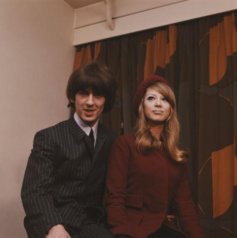 """GEORGE HARRISON AND PARRIE BOYD (1964-1974) """"The quiet Beatle"""" married Boyd in 1966 after meeting on the set of A Hard Day's Night in 1964. The marriage ended when Boyd had an affair with Faces guitarist Ronnie Wood, and Harrison had an affair with Ringo Starr's wife Maureen."""