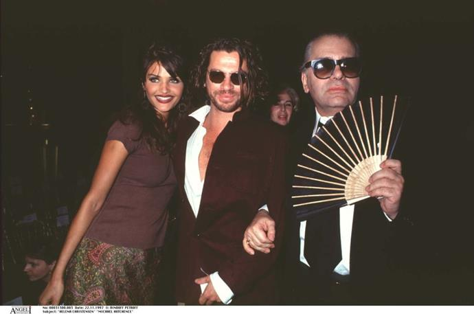 HELENA CHRISTENSEN AND MICHAEL HUTCHENCE (1991-1995) Christensen and INXS frontman Hutchence (seen here with Karl Lagerfeld) dated on and off for four years in Europe. He sadly passed away two years after their split