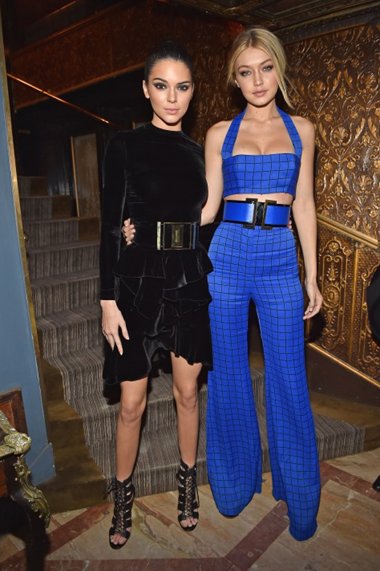 <strong>MARCH 5, 2015</strong> <BR> Wearing Balmain with Kendall Jenner at the Balmain dinner at Paris Fashion Week