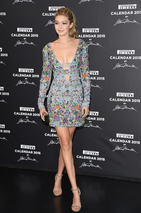 <strong>NOVEMBER 18, 2014</strong> <BR> On the Pirelli Red Carpet in Milan wearing Emilio Pucci