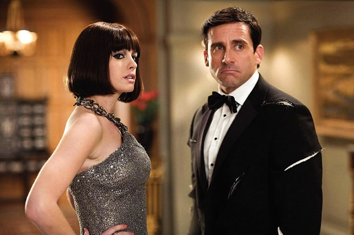 <strong><em>Get Smart</em></strong><br> <strong>People:</strong> Anne Hathaway (25) and Steve Carrell (45)<br> <strong>Age gap:</strong> 20 years