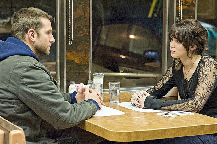 <strong><em>Silver Linings Playbook</strong><em><br> <strong>People:</strong> Jennifer Lawrence (22) and Bradley Cooper (38)<br> <strong>Age gap:</strong> 16 years