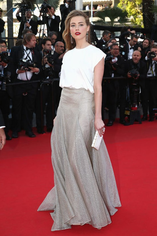 <strong>AMBER HEARD</strong> <BR> Heard brings the white T-shirt to Cannes, AKA the most glamorous place on earth, and makes it feel right at home by styling it with a fanciful silver skirt.