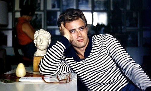 James Dean looking dreamy in stripes in Rebel Without a Cause.