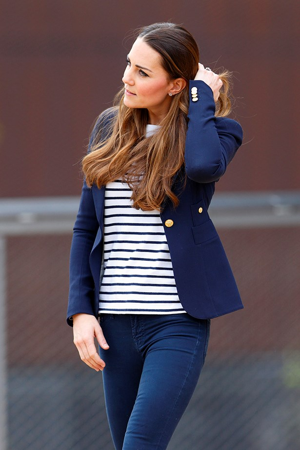 One more Kate Middleton in stripes for good luck.