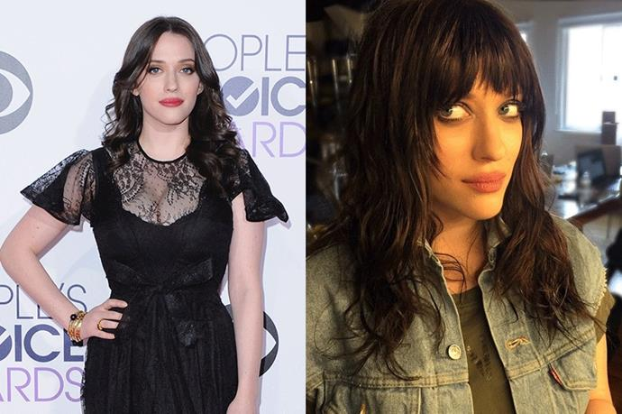 <strong>Kat Dennings</strong> <br><br>Dennings quite literally looks banging (sorry, we couldn't resist) after a quick fringe refresh by celebrity hairstylist Gregory Russel – who has also worked his magic on the likes of  Chloë Grace Moretz, January Jones and Kim Kardashian.