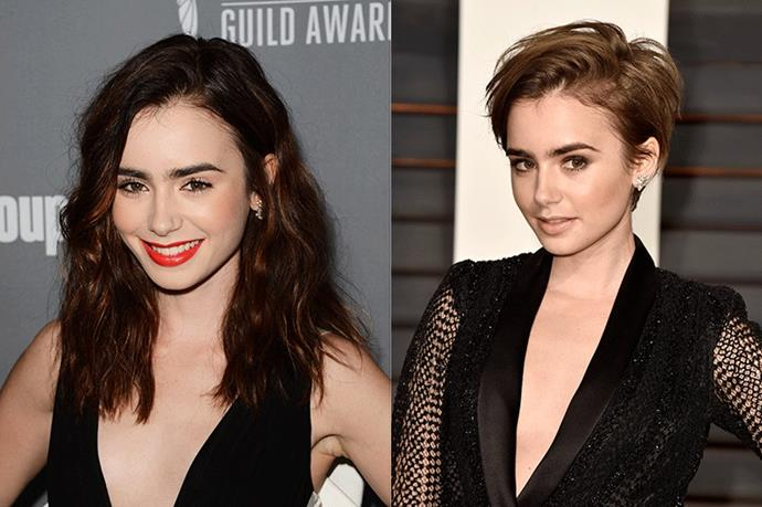 <strong>Lily Collins</strong> <br><br>Daughter of legendary musician Phil Collins, Lily Collins is an accomplished actress and model in her own right. The 'The Blind Side' and 'Love, Rosie' star is well known for her rich mahogany hair however regularly changes up the length. Her hairstyle of the moment? A pixie crop that perfectly complements her strong brows and delicate facial structure.