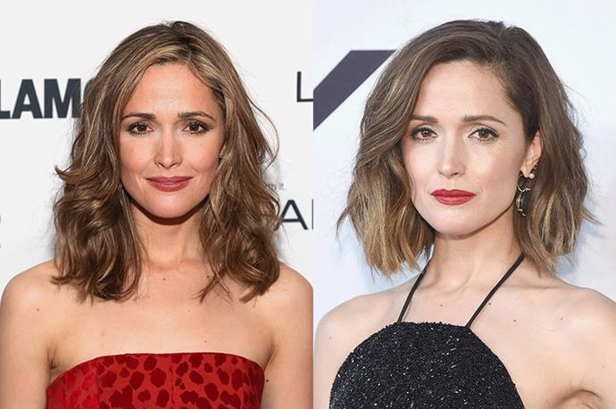 <strong>Rose Byrne</strong> <br><br>Although Byrne's hair generally sits on the shorter side, the Australian actress is still not afraid to play with her length and colour, alternating between a long bob and chin-grazing cut.