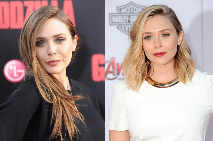 <strong>Elizabeth Olsen</strong> <br><br>While the younger Olsen sister flirted with going darker for her role as 'Scarlett Witch' in Avengers: Age of Ultron, she's now returned to her trademark golden locks in a shorter, edgier length.