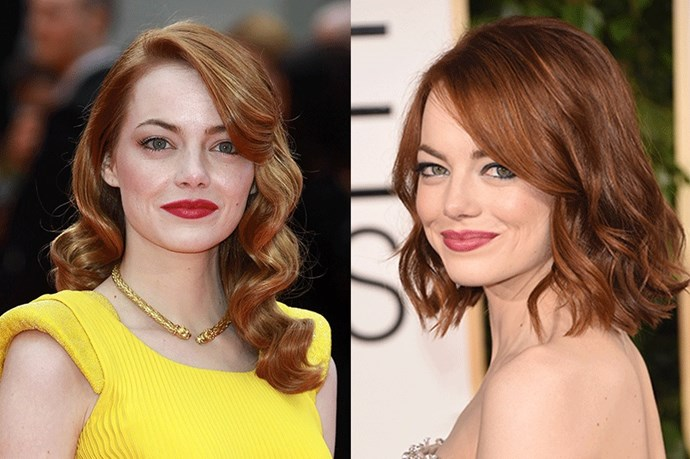 <strong>Emma Stone</strong> <br><br>Always one to change up her hair do, while Stone is naturally blonde she seems to opt for the classic red hair that we all know and love her for. Her most recent hair transformation? A shorter, cropped lob for her sold out stint on Broadway as the iconic <strong>Sally Bowles</strong> in<em> Cabaret</em>.
