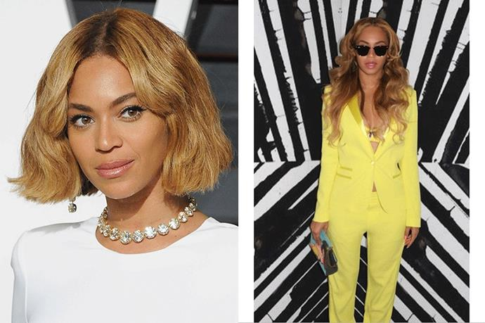 <strong>Beyoncé</strong> <br><br>Ever the hair chameleon, <strong>Beyoncé </strong>never sticks to one style for long. While we love her classic long diva locks she also keeps it chic in a blonde bob. All hail Queen B.