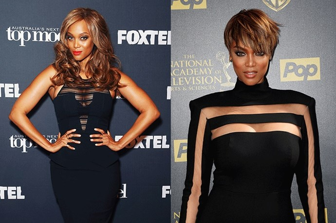 <strong>Tyra Banks</strong> <br><br>Mentor dozens of models-in-the-making every season on <em>America's Next Top Model</em>, who better to teach us the virtues of a dramatic hair makeover than Tyra herself? Banks' dramatic, asymmetrical pixie looks fearless. 10/10.