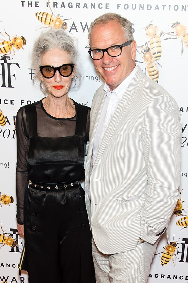 Linda Rodin and illustrator Donald Robertson at the Fragrance awards.