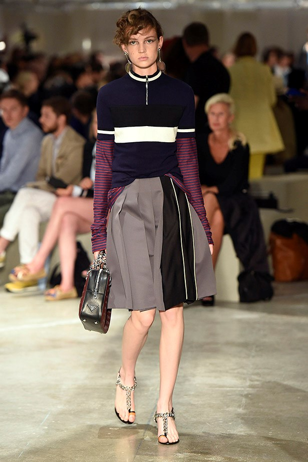 Layering stripes under a tee is a bit art school meets a bit preppy.