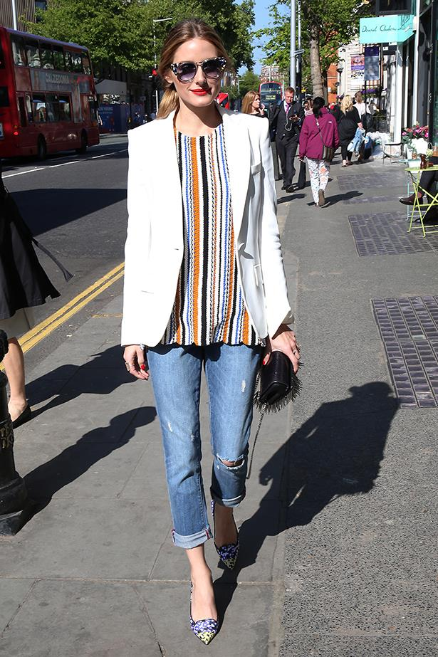 OK Olivia Palermo's jeans aren't too far from skinny, but they're a little more relaxed. Which is what we're going for here.