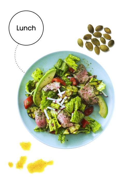 """MEMORY BOOSTER <p>Salmon and Avocado Salad with Pumpkin Seeds: Throw a bunch of mood-boosting foods in a bowl, and boom—lunch. """"The ingredients in this salad provide an abundance of phytonutrients, omega-3s, zinc, magnesium, B-vitamins, and amino acids, all of which support the synthesis of serotonin and dopamine for a happy afternoon,"""" James says. In a bowl, mix Bibb lettuce with 1/2 sliced avocado, cooked wild salmon, sprouts, quinoa, and pumpkin seeds. Toss in some lemon vinaigrette and serve.</p>"""