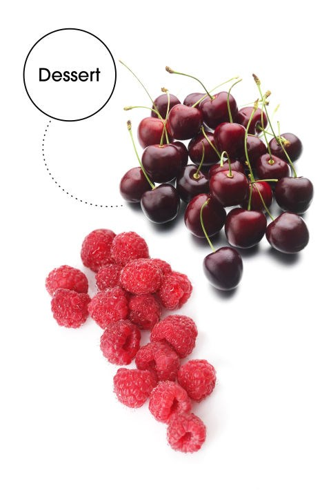 """SWEET DREAMS Muddled Cherries and Raspberries: """"Tart cherries help to activate melatonin for a deeper night's sleep, so you wake up refreshed the next morning,"""" James says. """"Raspberries give an extra hint of sweetness without adding sugar, which can send your mood back down again."""""""