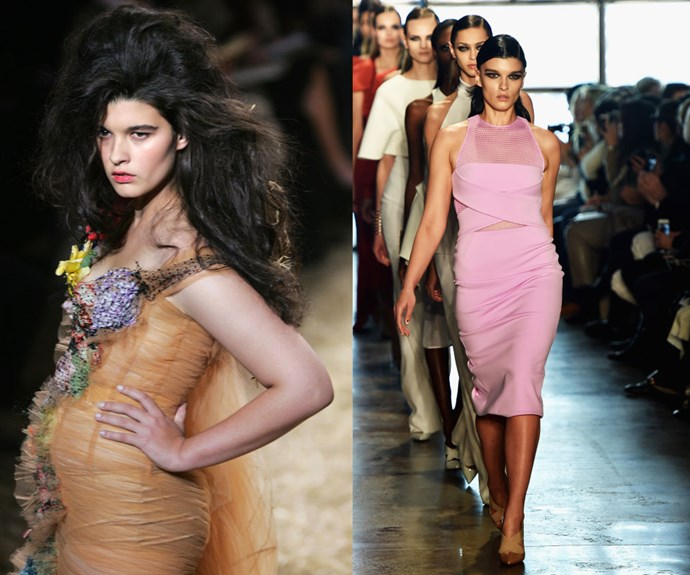 CRYSTAL RENN <p>In 2005 at the Jean-Paul Gaultier Spring/Summer 2006 presentation, and at the Cushnie et Ochs Fall/Winter 2015 show earlier this year.</p> <p>Before making a drop-dead-gorgeous debut as a full-figured model for Jean-Paul Gaultier's runway show in 2005, Renn struggled as a young straight-sized model in the industry—something she recounts in painful detail in her memoir, Hungry. The fact that her size is now secondary to her talent shows how much of a trailblazer she is.</p>