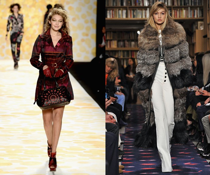 GIGI HADID <p>At the Desigual Fall/Winter 2014 fashion show, and walking Sonia Rykiel Fall/Winter 2015 earlier this year.</p> <p>In just a little more than a year, Hadid has skyrocketed from reality TV teen to model of the moment.</p>