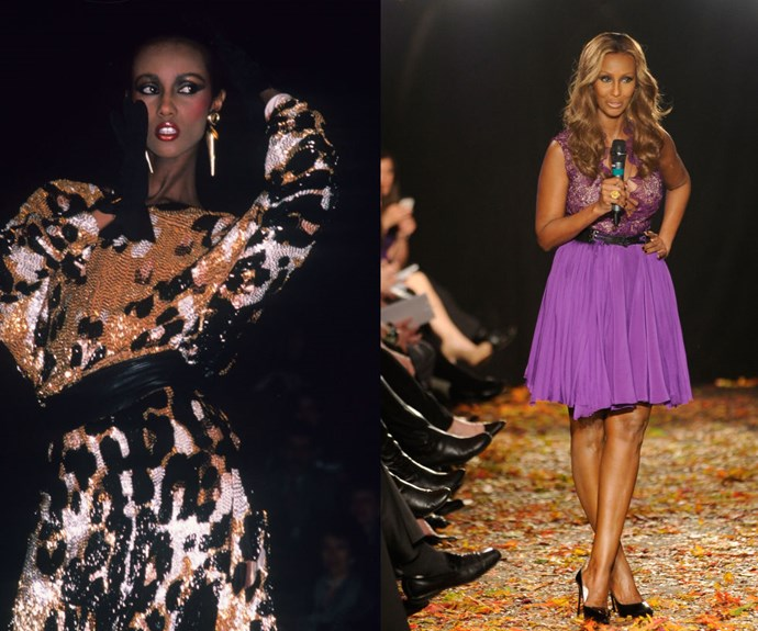 "IMAN <p>At the Michael Vollbracht show in 1981, and announcing the ""Strut: The Fashionable Mum"" presentation in 2012.</p> <p>The Somalian-born icon hasn't been seen catwalking since she retired from modeling in 1989—unless it's for special events like this mother-geared runway show she organised in 2012.</p>"