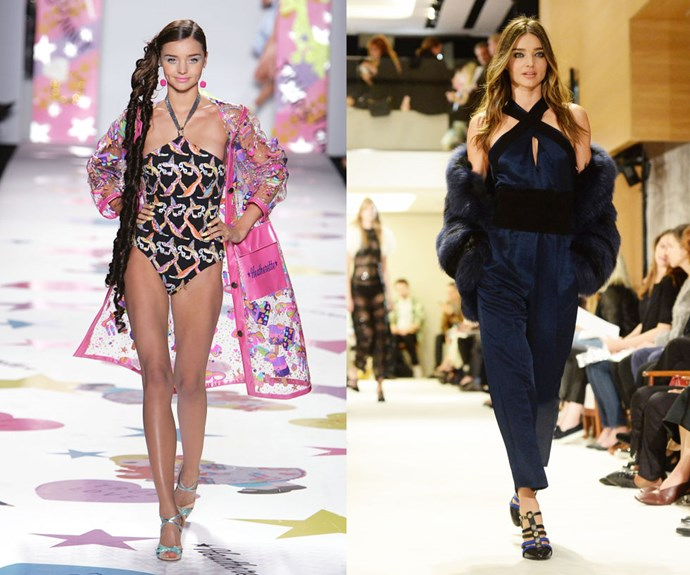 MIRANDA KERR <p>At the Heatherette Fall/Winter 2005 show, and the Sonia Rykiel Spring/Summer 2015 show in September last year.</p> <p>Nowadays, Miranda Kerr is a household name, but she was just a fresh-faced 21-year-old when she made the move from modeling Australian surfwear to walking New York City catwalks in 2004. (Frequent appearances for then-It brand Heatherette helped put her on the map.)</p>