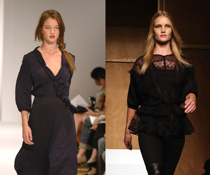 ROSIE HUNTINGTON-WHITELEY <p>At the Sari Gueron Spring/Summer 2006 presentation in 2005, and Givenchy Spring/Summer 2015 last year.</p> <p>We can barely recognise the now established actress at just 18, during the season when she began to garner international notice for her show-stopping look.</p>