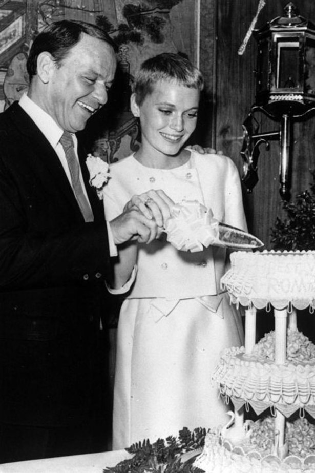 <strong>FRANK SINATRA AND MIA FARROW</strong><br> Mia Farrow married Frank Sinatra in 1966, when she was just 21 years old. The singer was 50. He reportedly wanted her to give up acting, but two years into their marriage, Sinatra served her divorce papers on the set of Rosemary's Baby. The two continued to maintain a relationship, even after Farrow became involved with Woody Allen in 1979.