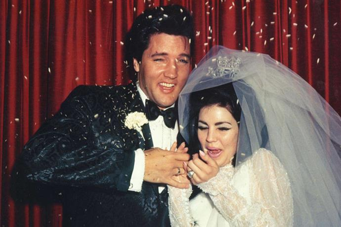 <strong>ELVIS PRESLEY AND PRISCILLA PRESLEY</strong><br> Priscilla Presley and the King of Rock and Roll were married from 1967–1973. After affairs on both sides, the two parted ways—despite having a matching set of incredible hair.
