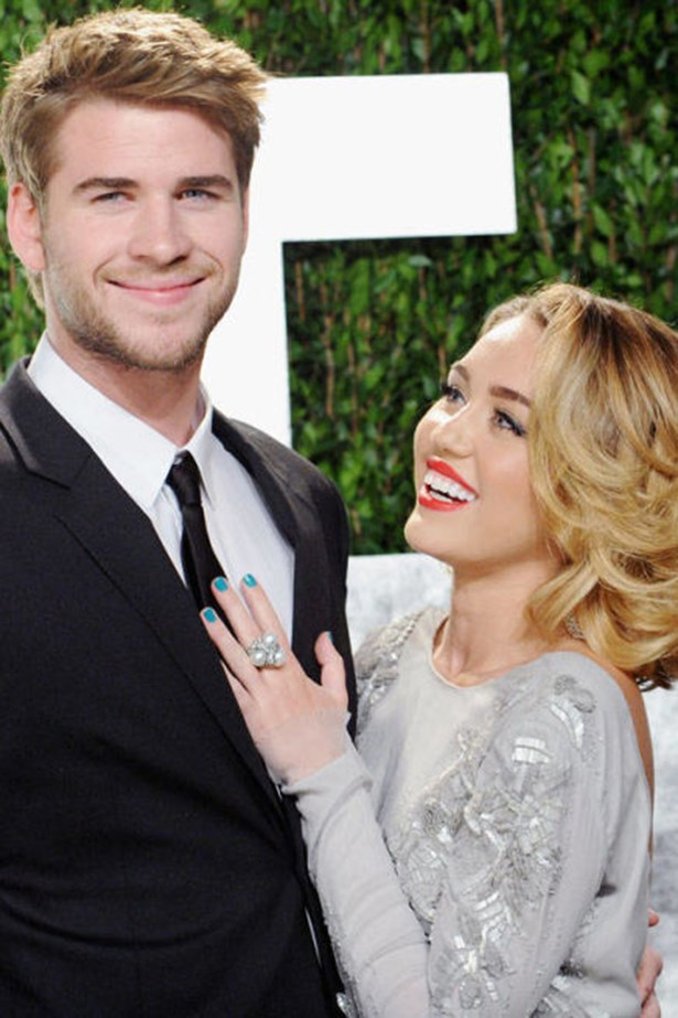 """<strong>LIAM HEMSWORTH AND MILEY CYRUS</strong><br> Well, we'll always have """"Wrecking Ball"""""""