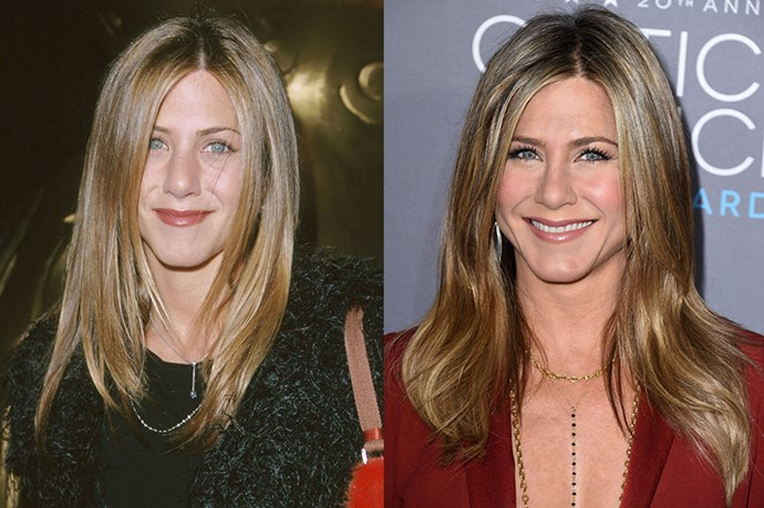 """<strong>JENNIFER ANISTON</strong> <br><br>Age:46 <br><br>The actress' complexion somehow seems to glow even more that it did during her Friends days – but she insists that it's actually because she didn't go the surgery route. """"There is this pressure in Hollywood to be ageless,"""" she said<a href=""""http://www.elle.com/beauty/news/a15486/jennifer-aniston-on-aging-without-plastic-surgery/""""> in a recent interview with <strong>Bobbi Brown</strong></a>. """"I think what I have been witness to, is seeing women trying to stay ageless with what they are doing to themselves. I am grateful to learn from their mistakes, because I am not injecting s**t into my face… I see them and my heart breaks."""" <br><br>Instead, Aniston is a huge advocate of lasers and LED light therapy, which allegedly tighten facial muscles in a non-invasive way. She also credits high quality skin products, drinking a lot of water, getting a decent amount of shut-eye, and good genes."""