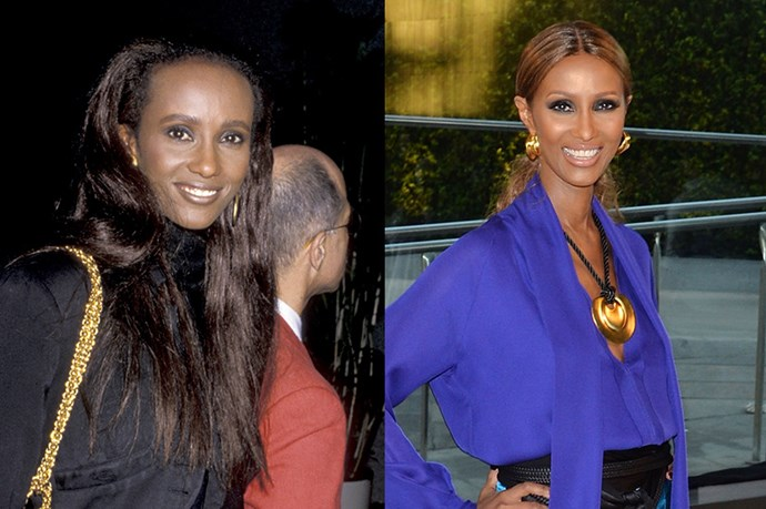 """<strong>IMAN</strong> <br><br>Age: 59 <br><br>This industry icon looks almost exactly the same as she did when she burst onto the scene in the 70s, but she has a secret for that: genetic. """"my father is 80 but looks 40,"""" she told New York in 2011. """"So I've inherited that."""" Still, the Somalian stunner admits that keeping her body as ageless as her face is more of a challenge. <br><br>She <a href=""""http://www.harpersbazaar.com/fashion/models/g2662/iman-beauty-and-fitness-tips-0513/"""">recently told <em>Harper's Bazaar</em></a> that she starts off every day with a shake, and likes to mix up her fitness regime with yoga, cardio, and weights. She also has a thing for SK-II sheet masks (don't we all?), and gets plenty of sleep – it's lights out for her and husband David Bowie by 11:30 every night."""