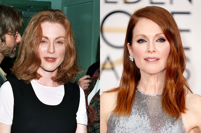 """<strong>JULIANNE MOORE</strong> <br><br>Age: 54 <br><br>The porcelain-skinned actress holds no judgement about the anti-aging procedures of many of her Hollywood peers – but personally prefers to bypass drastic measures herself. """"I'd like to think that I can age as naturally as possible,"""" she recently told <a href=""""http://www.net-a-porter.com/magazine/226/14""""><em>The Edit</em></a>. """"I don't want to come out condemning anything anybody does, because I think that all of these things can contribute to making people feel better about themselves, and that's great. But I mean, we're not going to lice forever."""" <br><br>For her own regime, Moore tries to avoid dairy sugar, and alcohol as much as possible – but certainly not as a hard-and-fast rule. She is a regular at the yoga studio, however, and works with a trainer, """"doing light weights and a lot of jumping around."""" As for that glowing complexion, Moor divulged to <a href=""""http://www.redbookmag.com/beauty/interviews/a16833/julianne-moore-beauty-tips/""""><em>Redbook</em></a> that she has worn SPF daily since age 23, and used a face oil every morning. (She's also a spokesperson for L'Oréal Paris.)"""