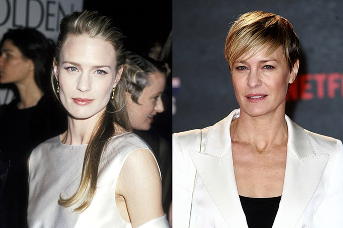 """<strong>ROBIN WRIGHT</strong> <br><br>Age: 49 <br><br>It's been a whole 30 years since she got her start on Santa Barbara (and 27 since we saw her as Princess Buttercup in The Princess Bride, believe it or not), yet when we watch Robin Wright now as the cool and calculating Claire Underwood on House of Cards, we can't help but be transfixed by her ageless beauty. <br><br>Fortunately, the actress has said that she """"ain't hiding anything"""" when it comes to her anti-aging routine. She recently told <a href=""""http://www.telegraph.co.uk/culture/tvandradio/10621566/Robin-Wright-on-House-of-Cards-Botox-and-getting-married-again.html""""><em>The Telegraph</em></a> that she relies on the """"tiniest sprinkle"""" of Botox twice a year. <br><br>In between HoC makeup artist Tricia Sawyer uses Orlane's Anti-Aging Oxygenating skincare line to keep Wright's complexion refreshed during filming. As ofr her top-form physique, Wright is all about Zumba, and has touted the 21-day Reset Boost Cleanse – based on a diet of completely unprocessed foods – as her detox diet of choice."""