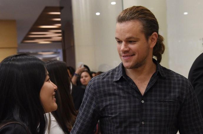 Matt Damon and his new ponytail make their lush debut.
