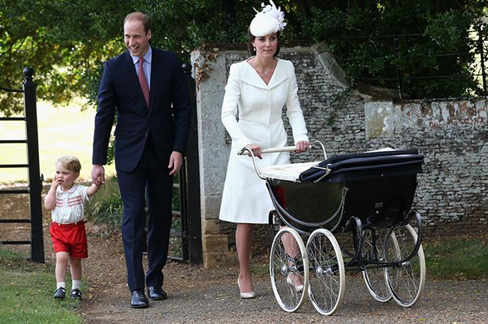 The Duchess pushed the princess in a pram that the Queen had used.