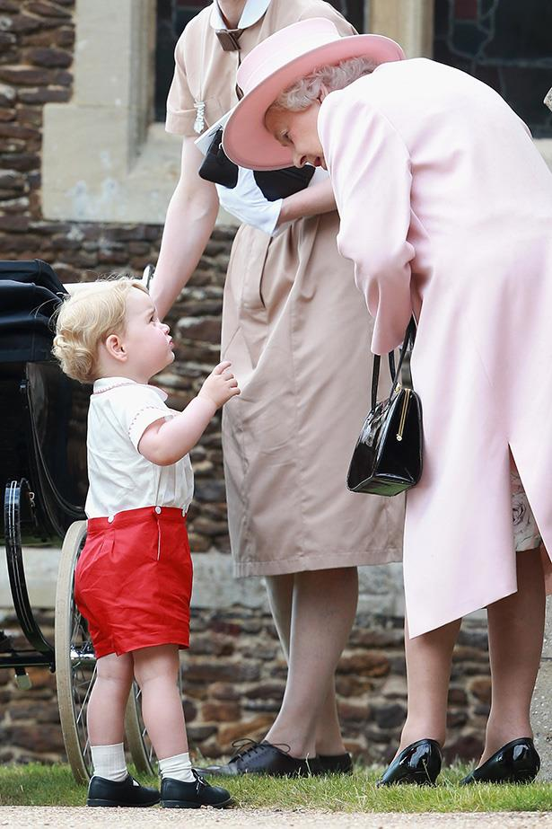 Prince George has a chat to his grandma, the Queen of England.
