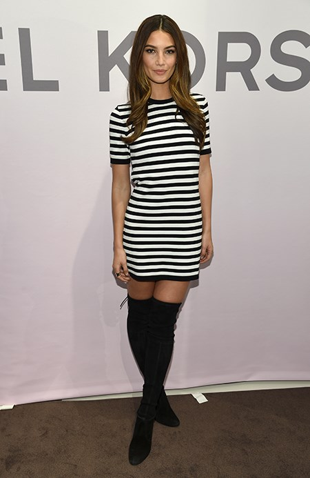 Nothing like a pair of thigh high boots to sweeten up a striped dress. Not that Lily Aldridge needs it.