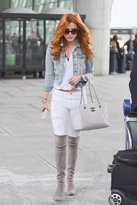 Bella Thorne lightens up with a blue-white-and-grey combo - we're sold.