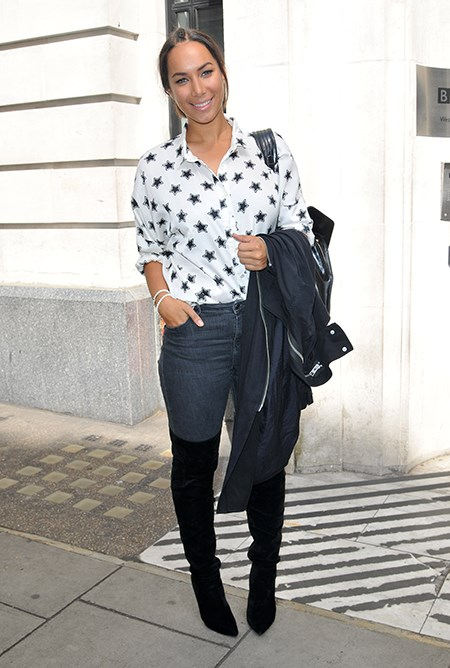 Going for a more casual look, Leona Lewis pairs stars with her boots.