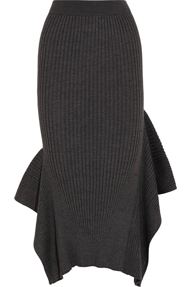 "Skirt $1216, Stella McCartney, <a href=""http://www.net-a-porter.com/product/590549/Stella_McCartney/ribbed-wool-and-silk-blend-midi-skirt"">net-a-porter.com</a>"