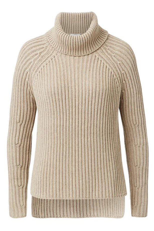 "Sweater $149.95, Seed Heritage, <a href=""http://www.seedheritage.com/new-arrivals/dipped-roll-neck-sweater/w1/i13030431_1001285/"">seedheritage.com</a>"