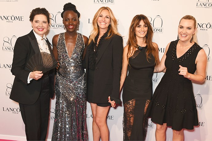 Isabella Rossellini, Lupita Nyong'o, Julia Roberts, Penelope Cruz, and Kate Winslet help celebrate Lancôme's 80th anniversary in Paris.