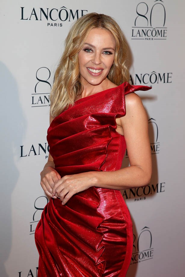 Kylie Minogue attends Lancôme's 80th anniversary in Paris.